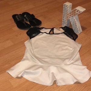 White & Black Dress Tank Top.